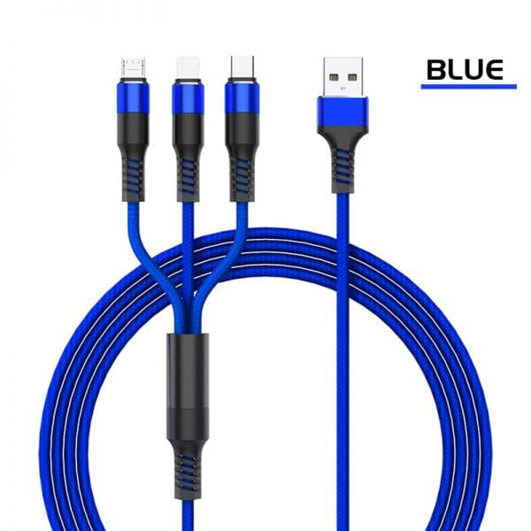 3 in 1 Nylon Braided USB Charging Cable for iPhone/Android/Type USB-C (1.2m)Blue