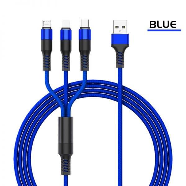 Câble de charge USB nylon tressé 3 en 1 Bleu