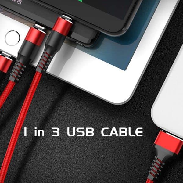 Câble de charge USB nylon tressé 3 en 1 3 Connexions