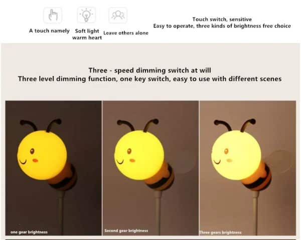 Bee LED lamp bedside night light for kids