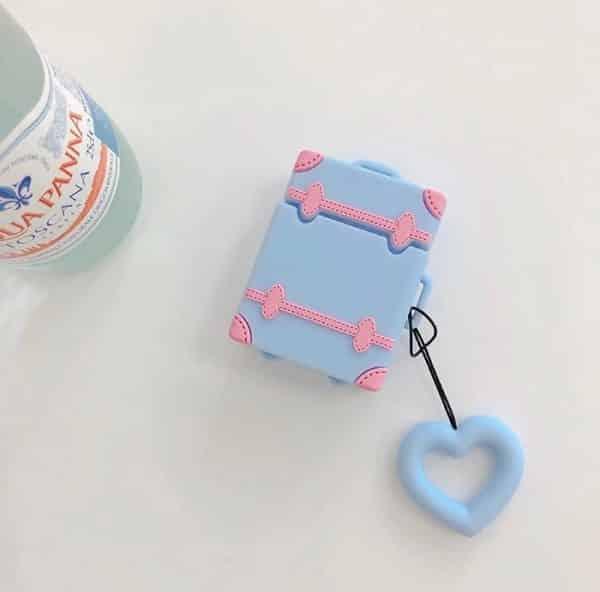 Joli étui design en silicone doux 3D pour AirPods Bleu