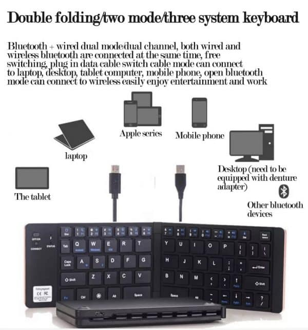 Folding wireless mini keyboard
