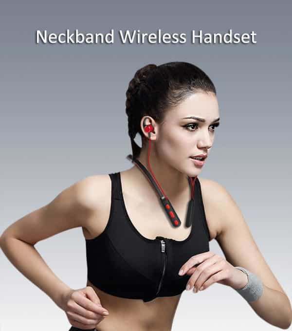Neckbank wireless handset earbuds