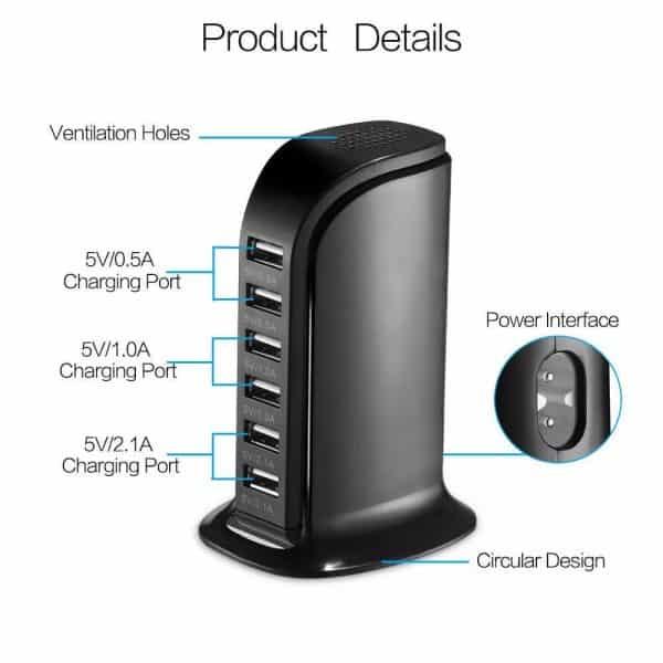 Station de charge portable 6 ports USB Détails du produit