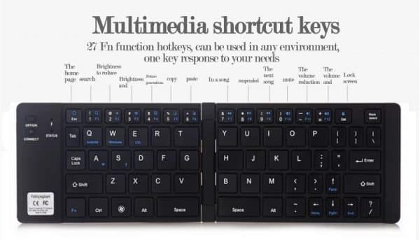 folding wireless mini keyboard for phones/tablets