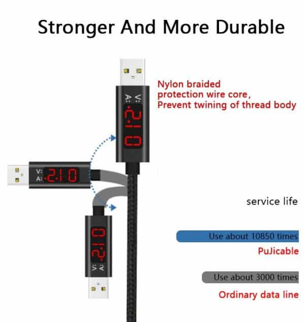 Current and voltage LCD display fast charging nylon braided USB-C cable (1m)