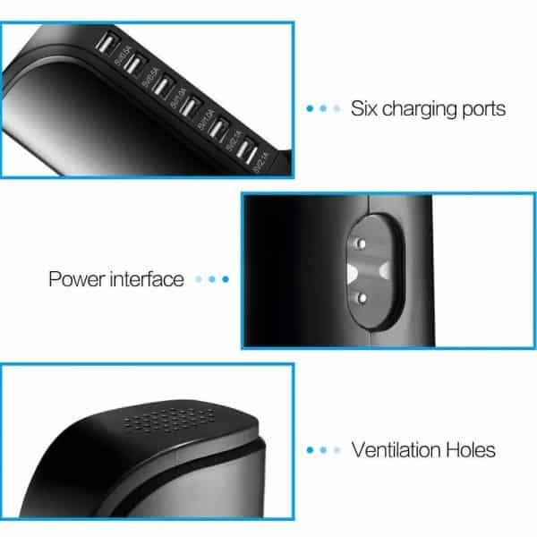 Station de charge portable 6 ports USB Caractéristiques