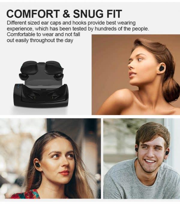 Écouteurs sans fil Bluetooth étanches avec microphone Confort
