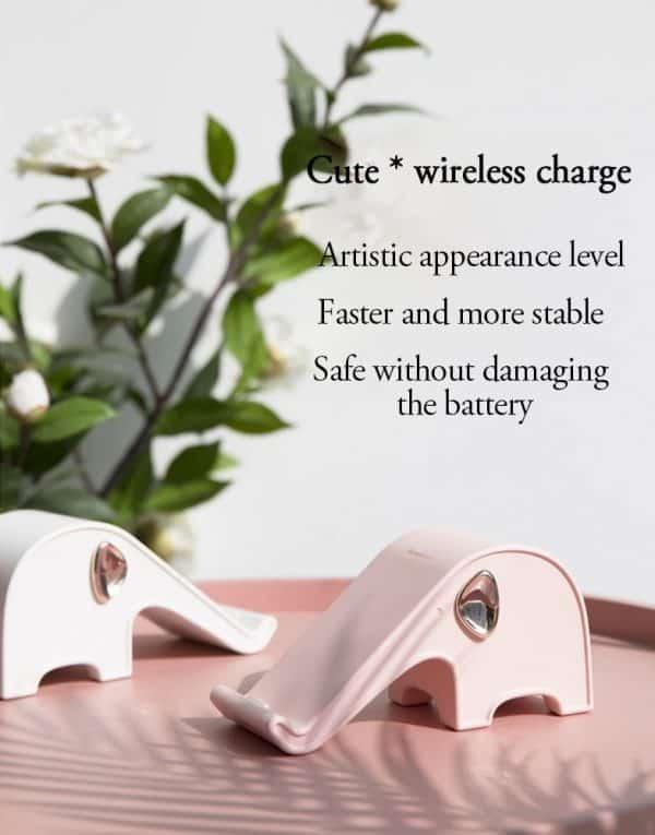 Chargeur rapide sans fil et support téléphone style éléphant Style élégant