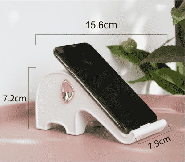 Chargeur rapide sans fil et support téléphone style éléphant Dimensions