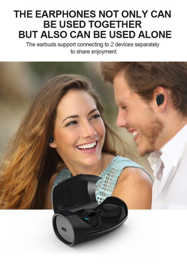 Écouteurs sans fil Bluetooth étanches avec microphone Ensemble ou séparé
