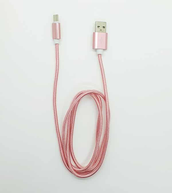 USB Type C Nylon braided cable Rose