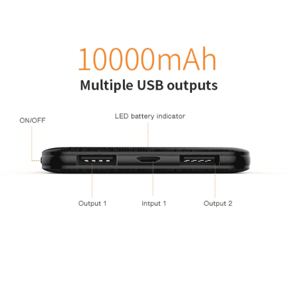 10,000 mAh Multiple USB outputs