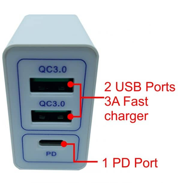 USB fast charger with 2 ports USB-A (3A) & 1 port USB-C (PD)