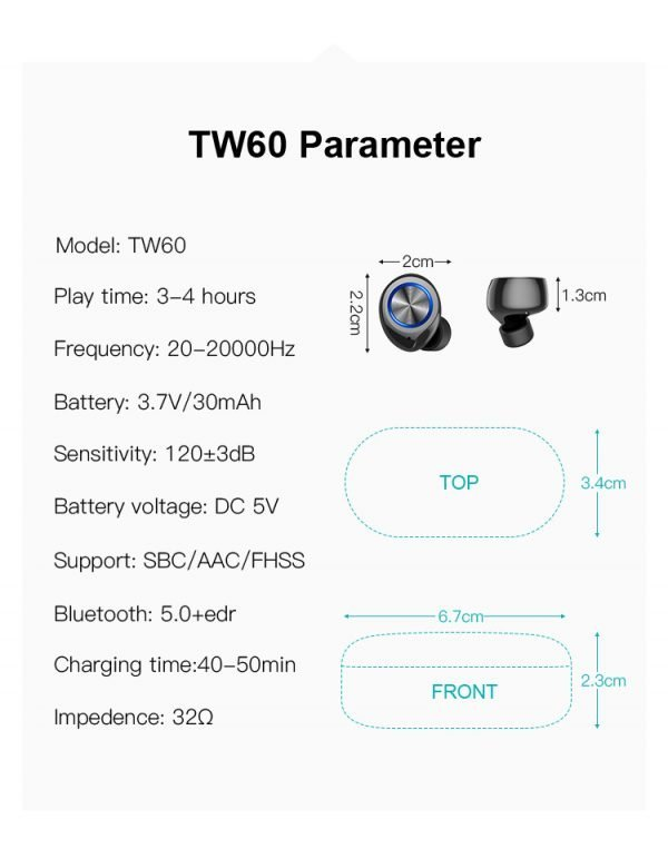 Wireless Earbuds TW60 parameters