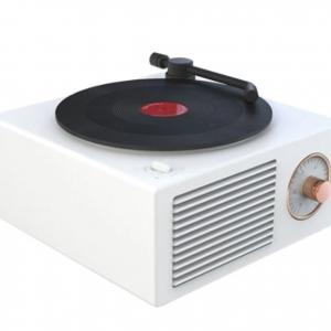 Haut-parleur sans fil en vinyle rétro blanc