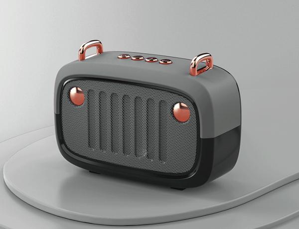 Haut-parleur sans fil rétro vintage gris